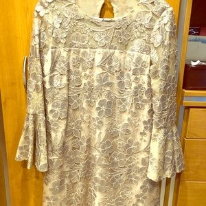 Special event dress size 6 worn once nude/silver